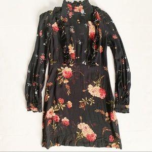 Zara Mock Neck Long Sleeve Floral Mini Dress